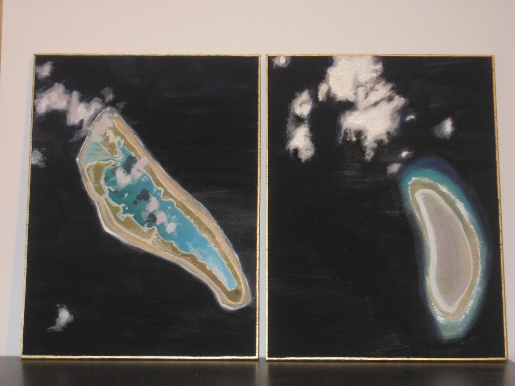 two small panels--images of Howland Island, Amelia Earheart's destination on her final flight, which she never reached