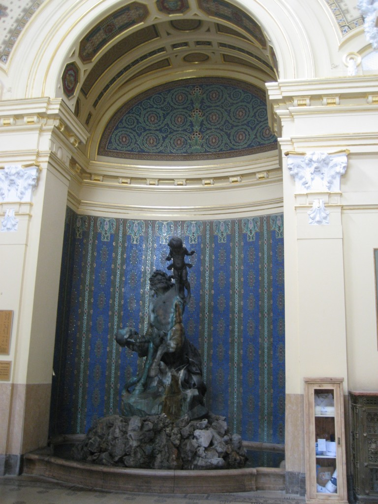 just inside the entrance of Széchenyi Baths